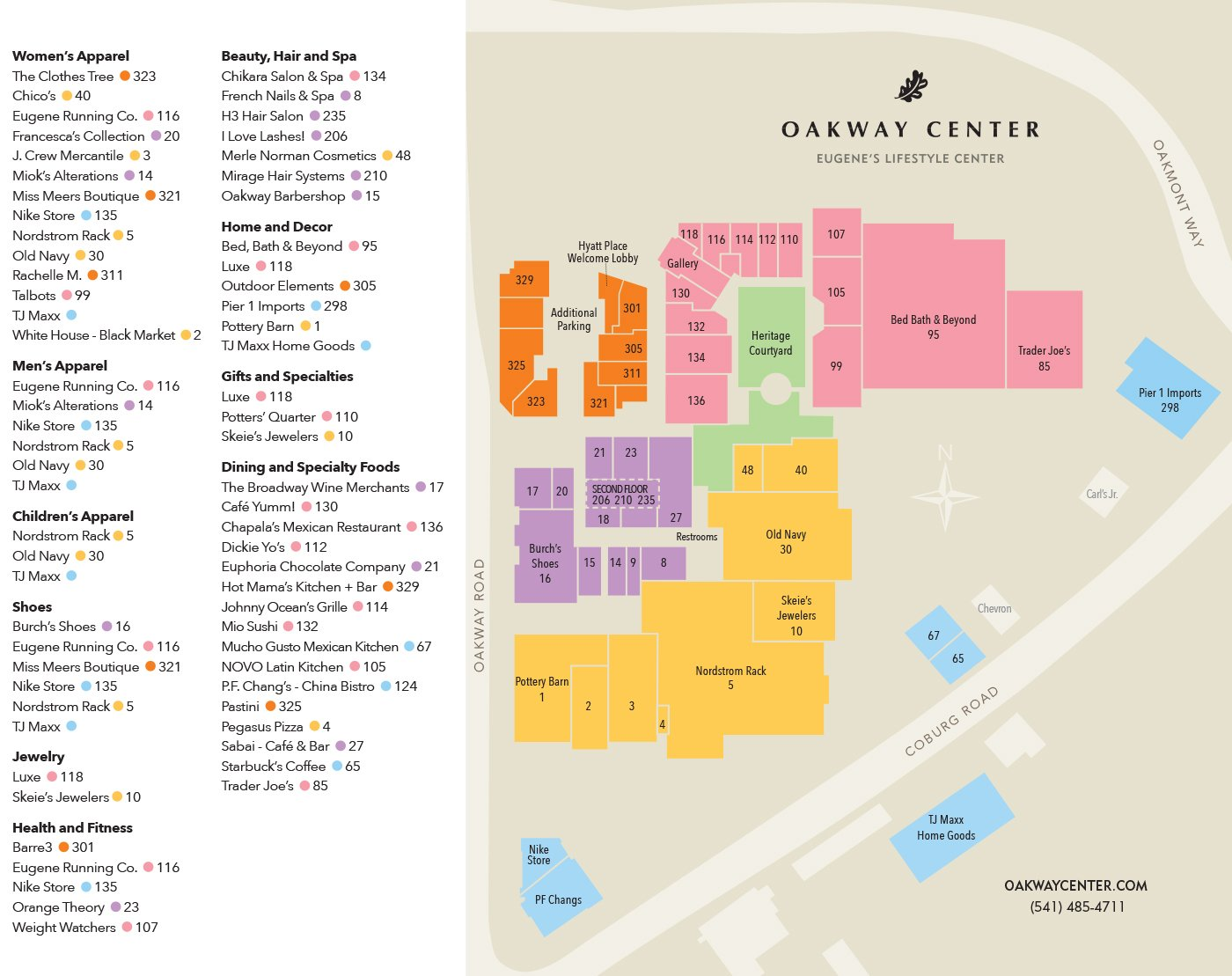 Map and Listings – Oakway Center Map Of Eugene on
